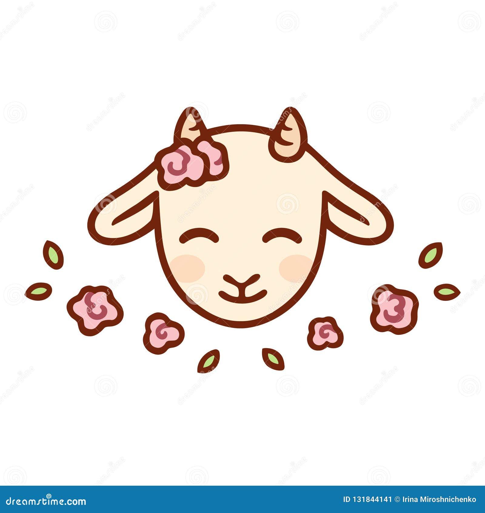 Cute cartoon baby goat stock vector. Illustration of ...