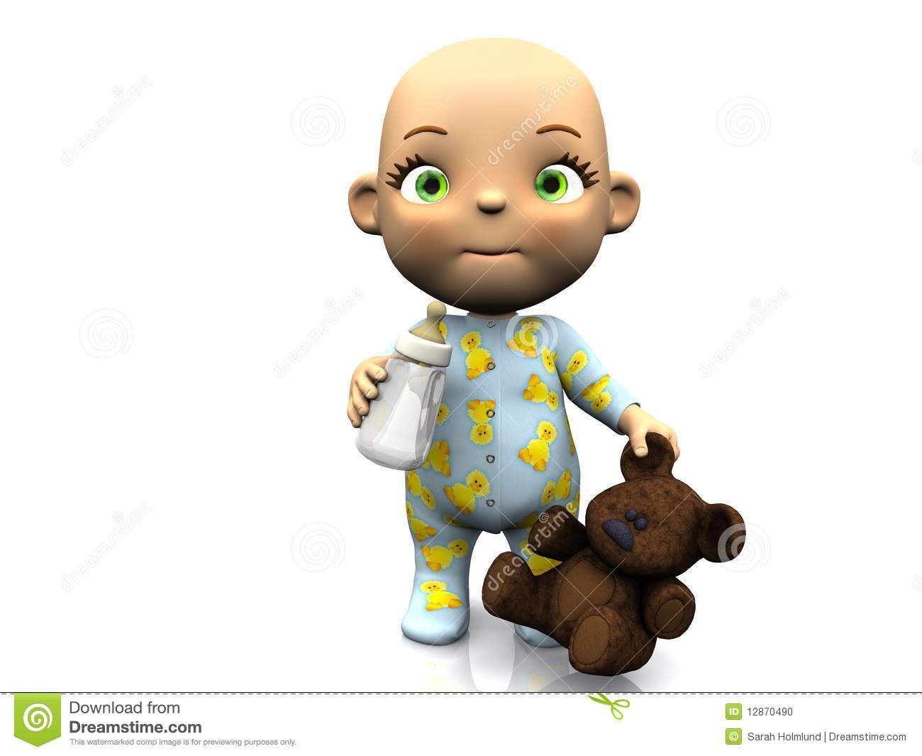 Cute Cartoon Baby Holding Teddy And Baby Bottle. Stock