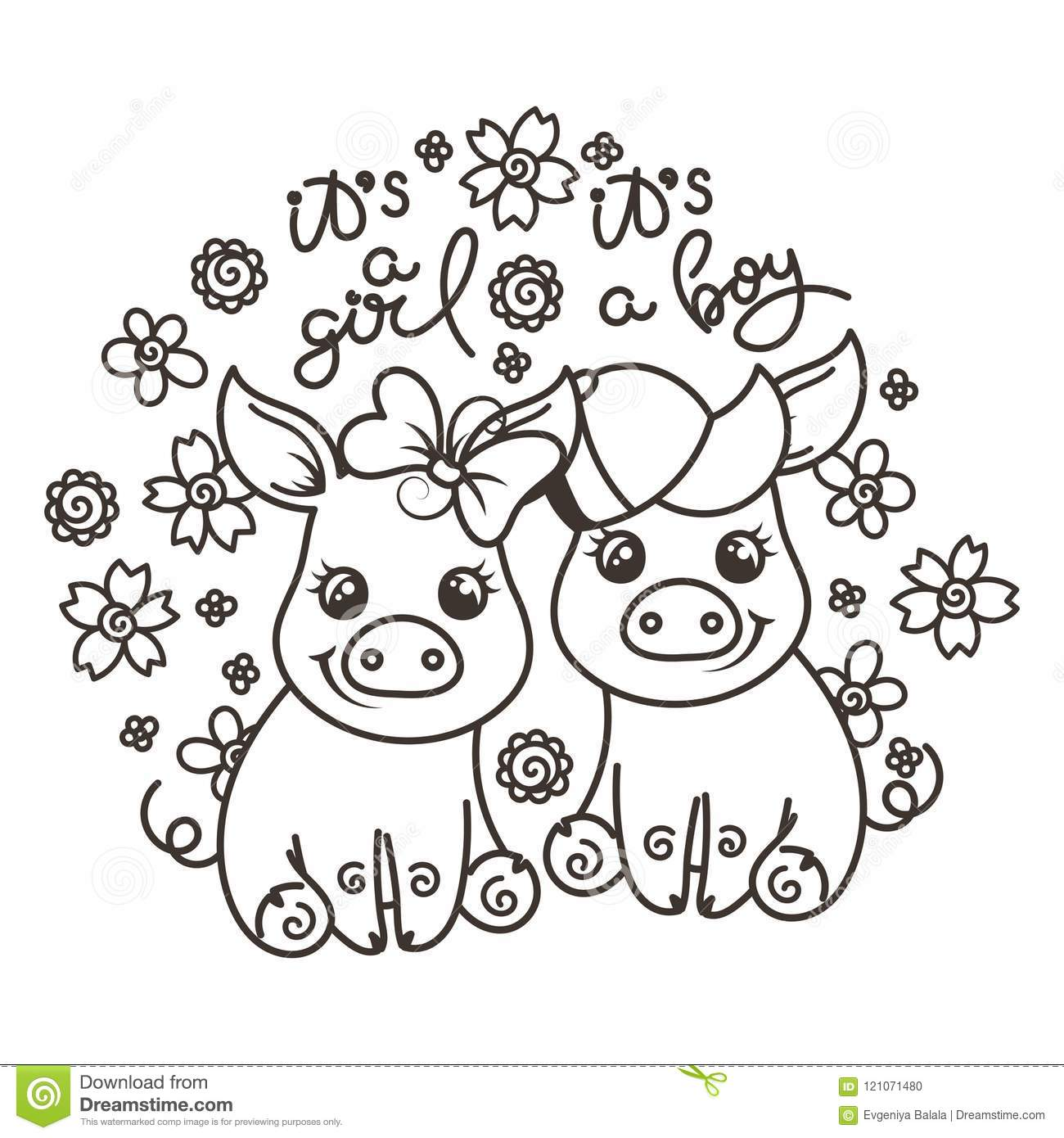 Cute Cartoon Baby Pigs In Love Stock Vector - Illustration of ...
