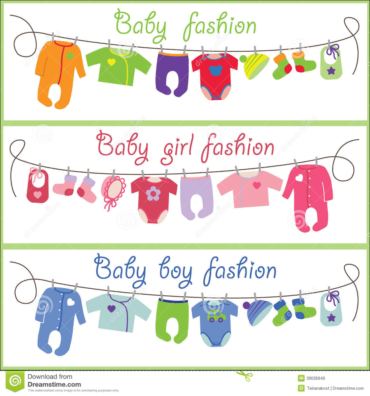 Cute Cartoon Baby Set Fashion Vector