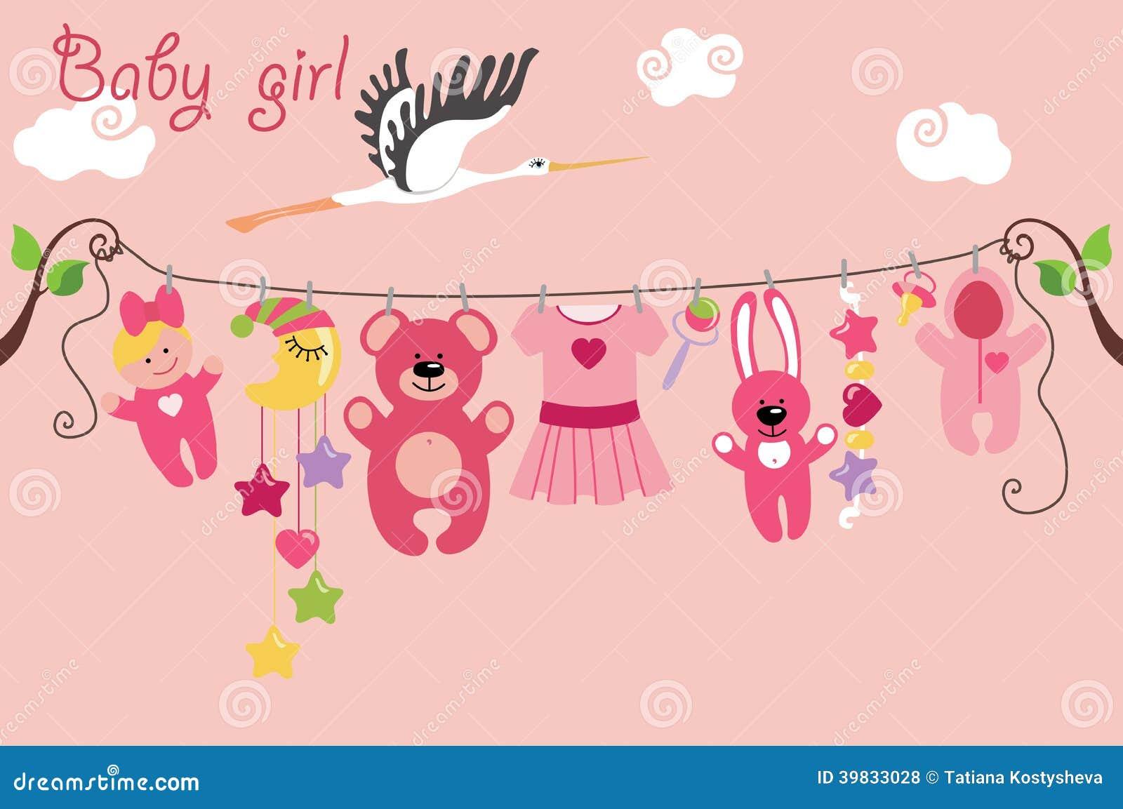 Cute Cartoon Baby Set Baby Girl Items Illustration 39833028 Megapixl