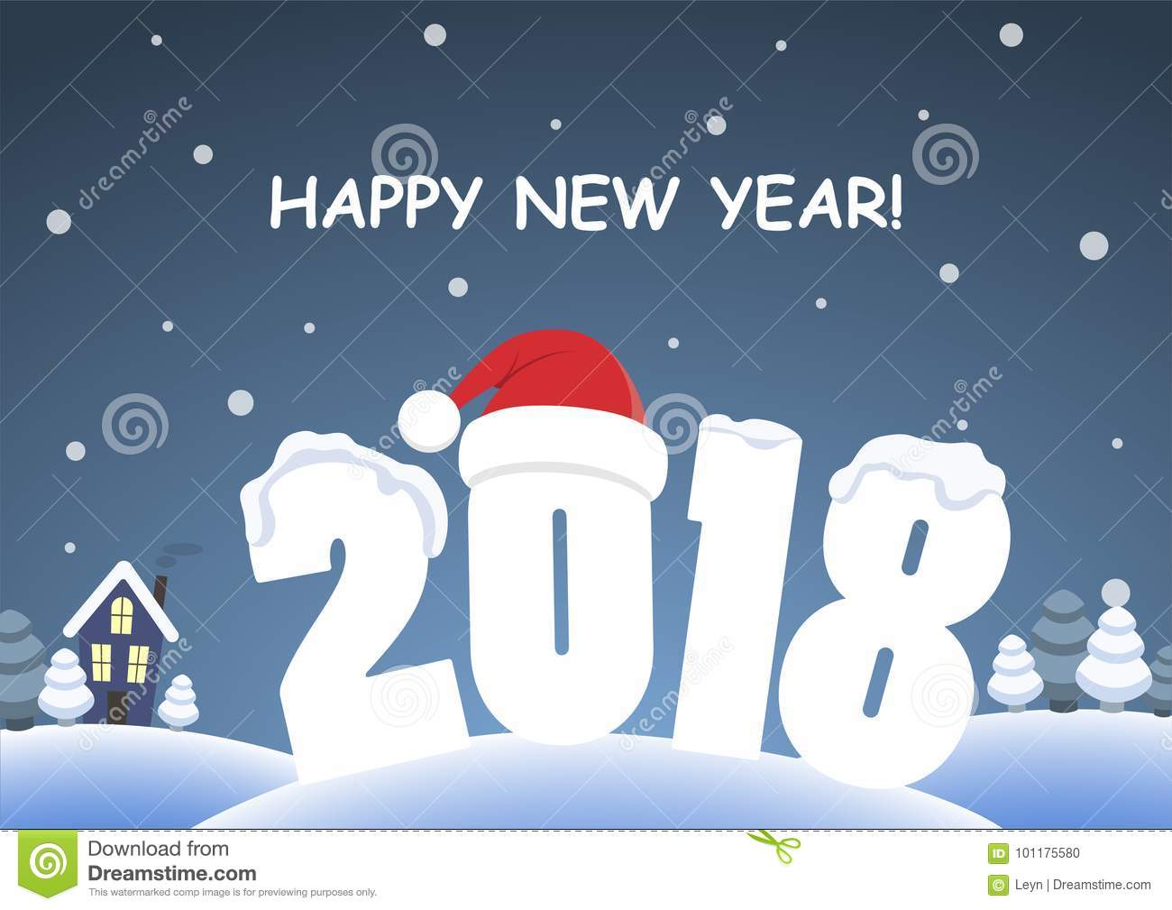 cute cartoon background happy new year 2018