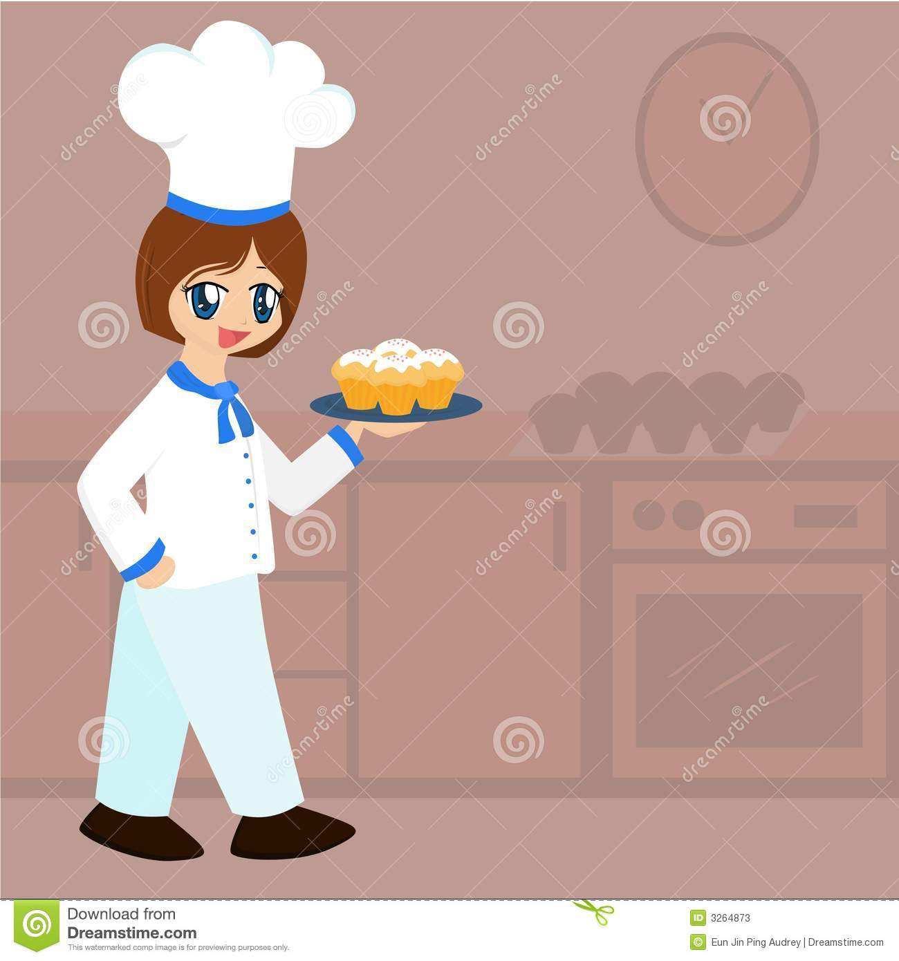 Cute Cartoon Baker Girl Stock Vector Image Of Pretty