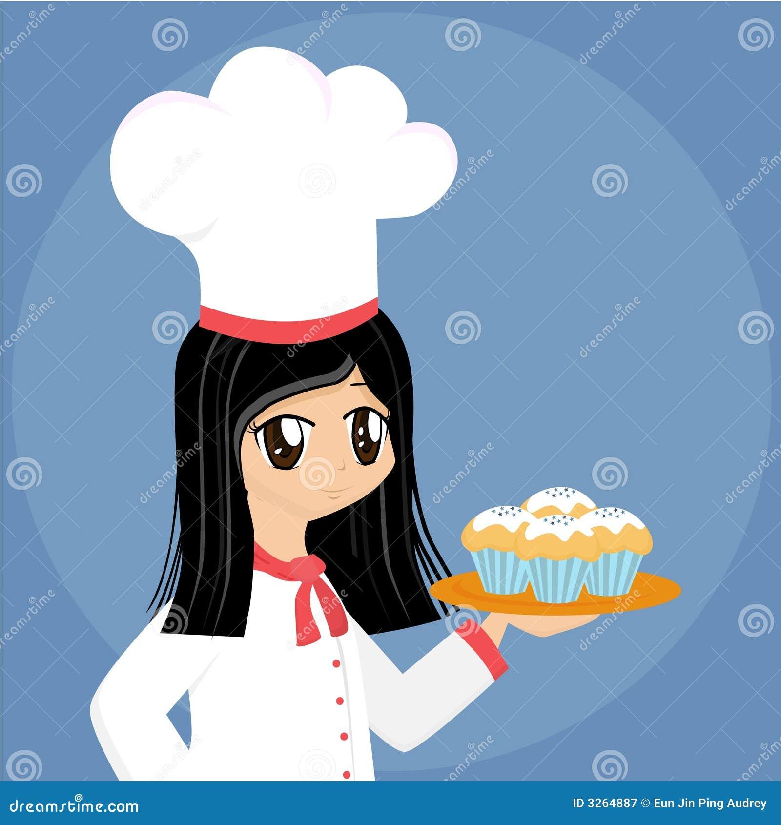 Cute Cartoon Baker Girl Stock Vector Illustration Of