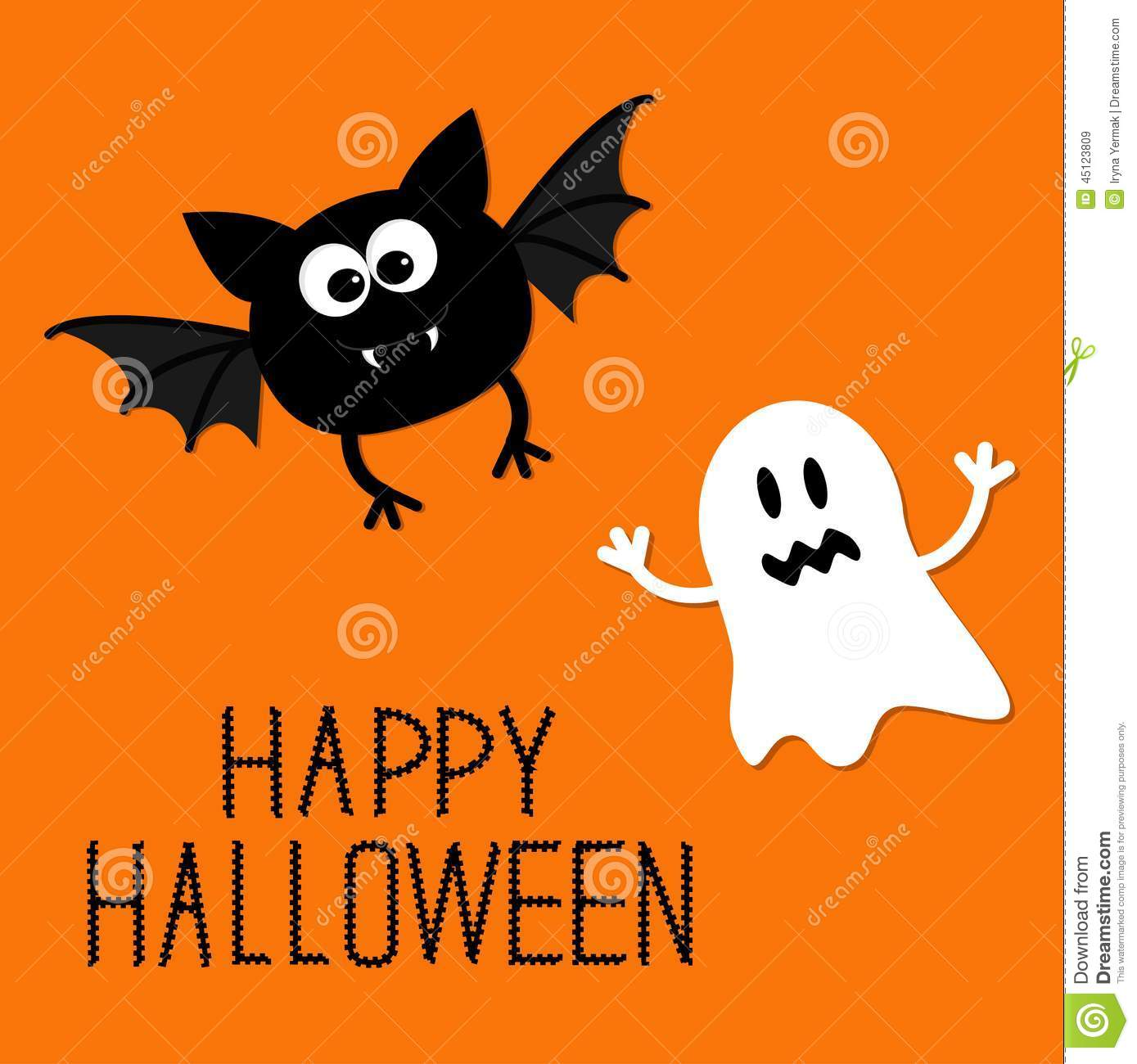 cute cartoon bat and ghost. happy halloween card. flat design. stock
