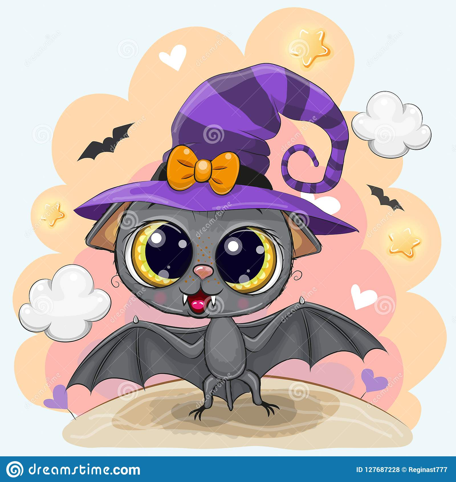 Cute Pictures Of Halloween.Cute Bat In A Halloween Hat Stock Vector Illustration Of Face Spooky 127687228