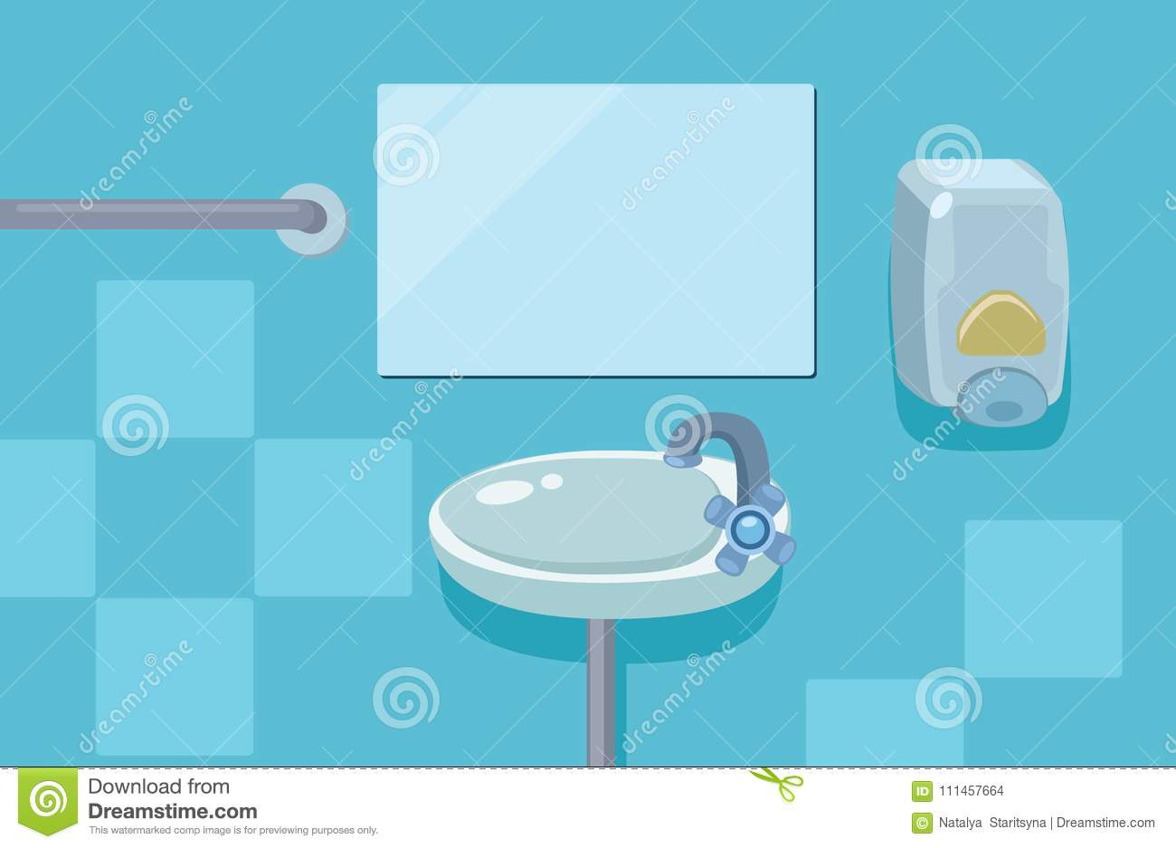 Cartoon Bathroom Sink And Mirror Interior With Blue Colors Stock Illustration