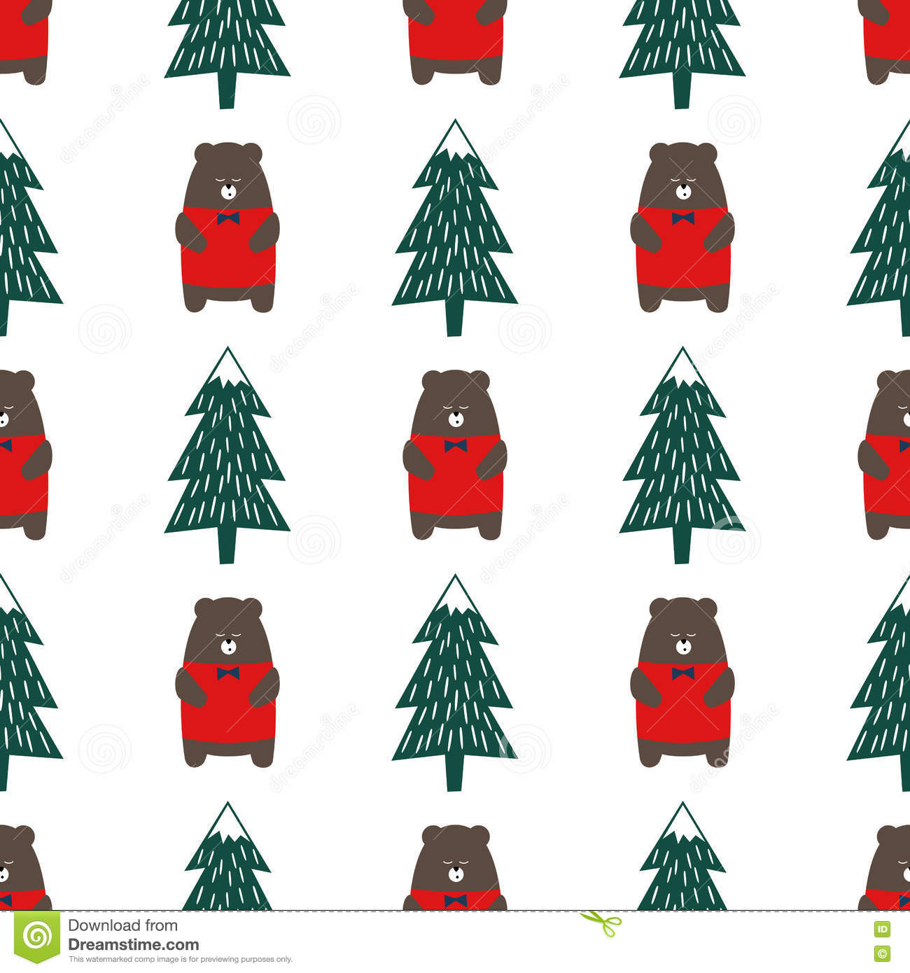 Cute Cartoon Bear And Xmas Tree Seamless Pattern. Stock