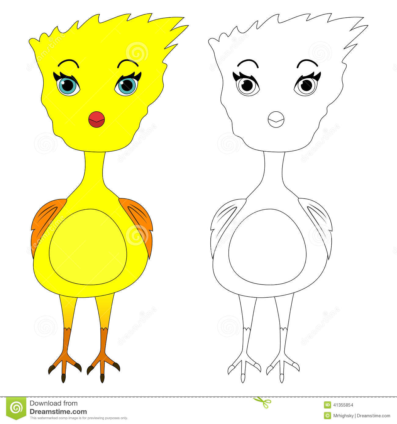 Cute Cartoon Bird Coloring Page Drawing