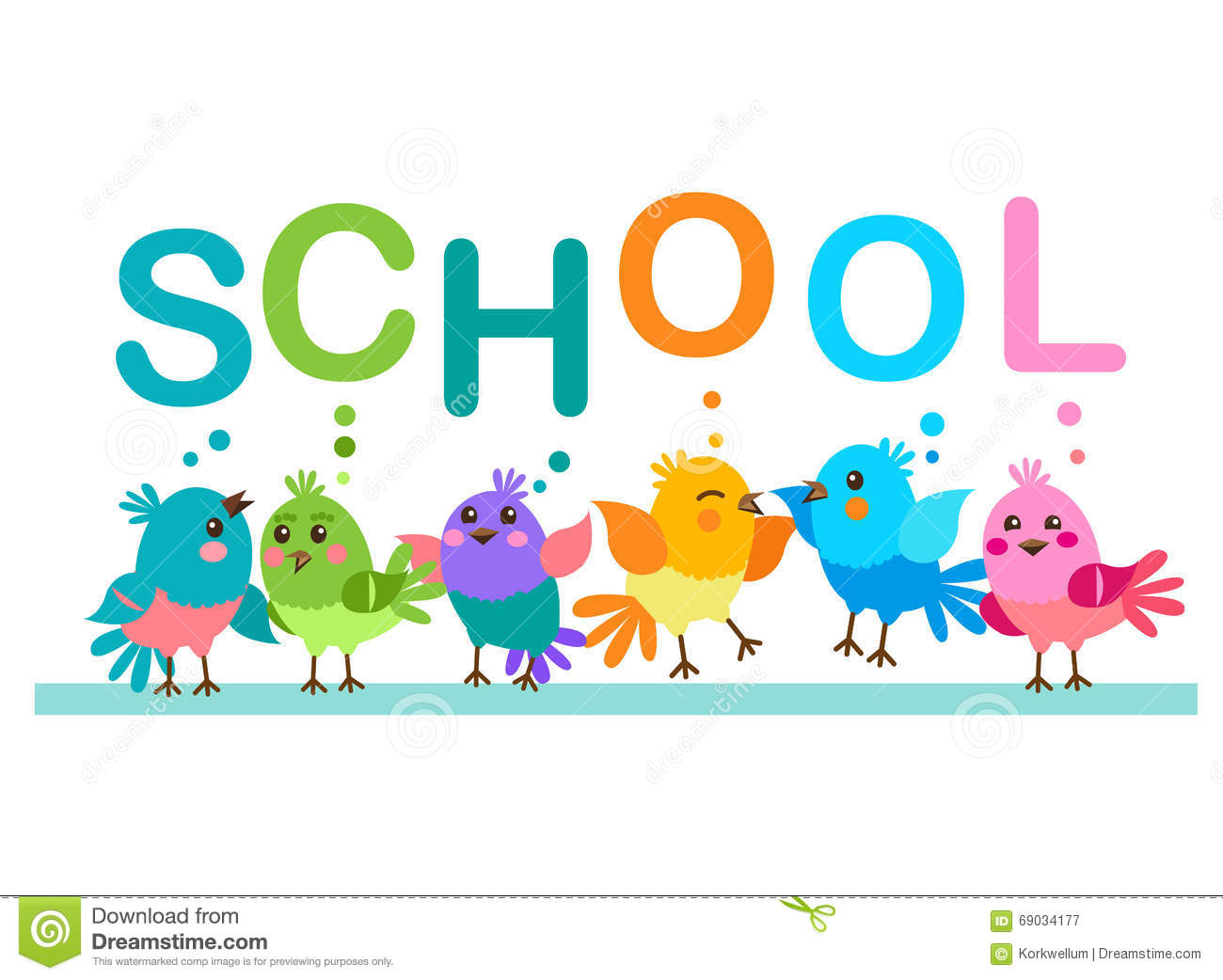 Cute Cartoon Birds Birds And The Word School School Theme Stock