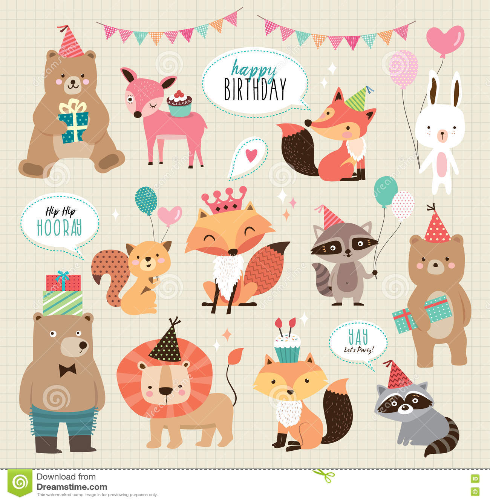 Cute Cartoon Birthday Animals
