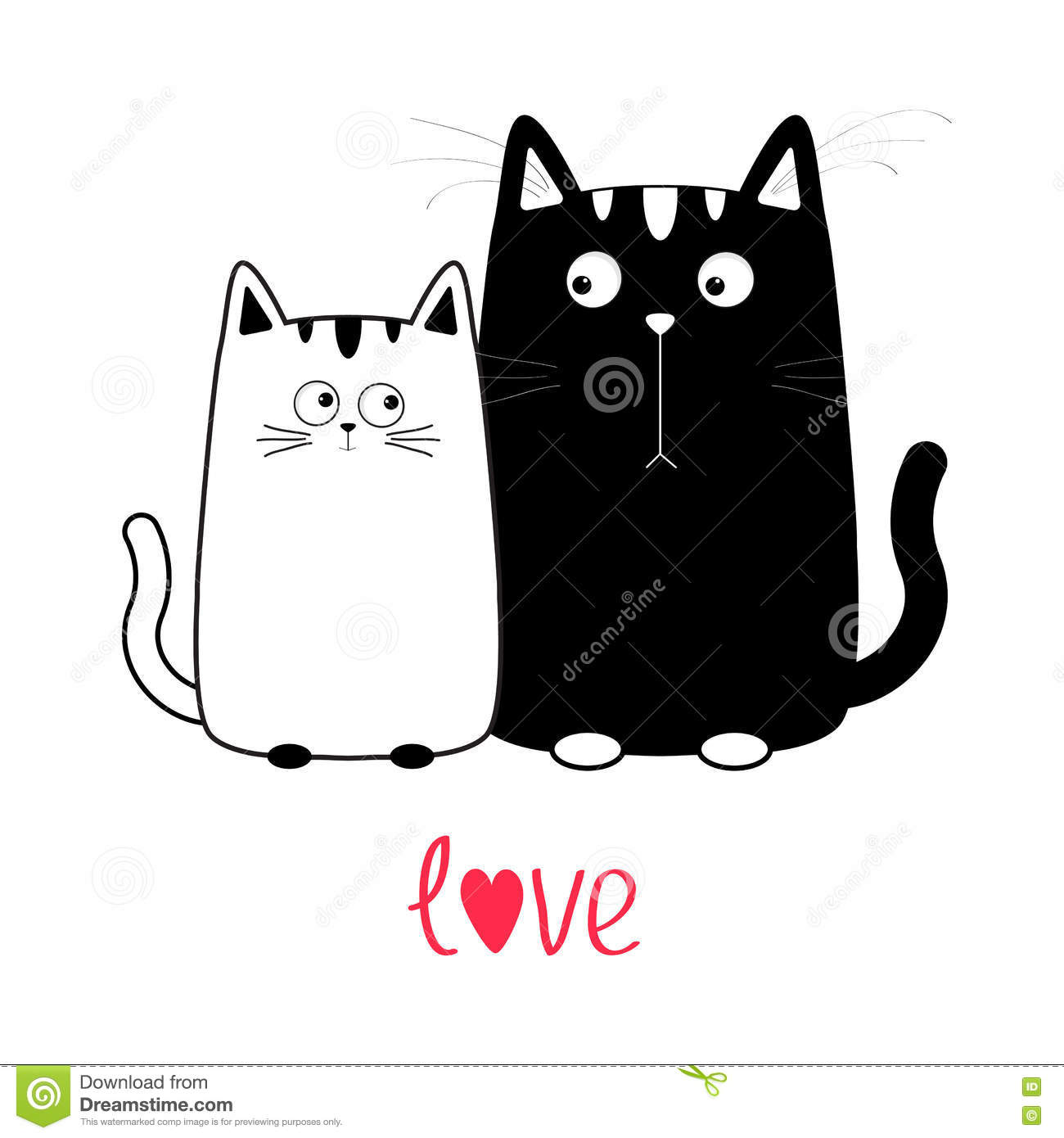 One Line Text Art Cat : Cute cartoon black cat boy and white girl kitty couple on
