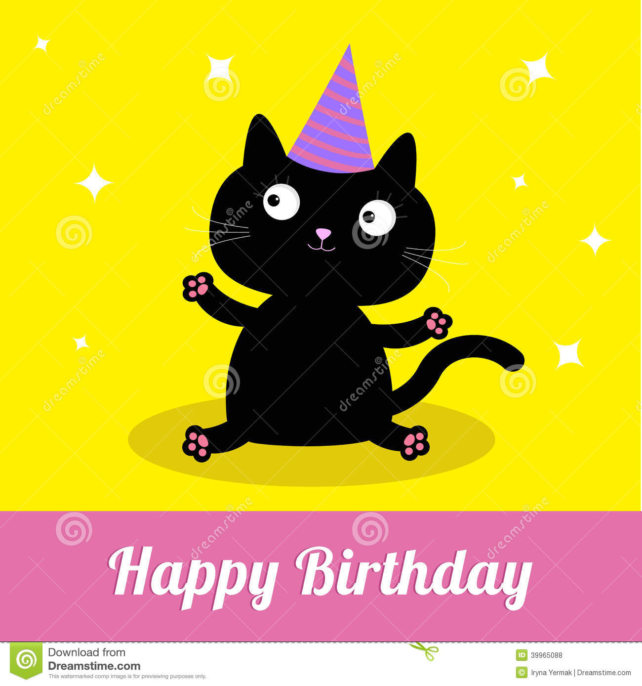Cute Cartoon Black Cat With Hat Happy Birthday Party Card