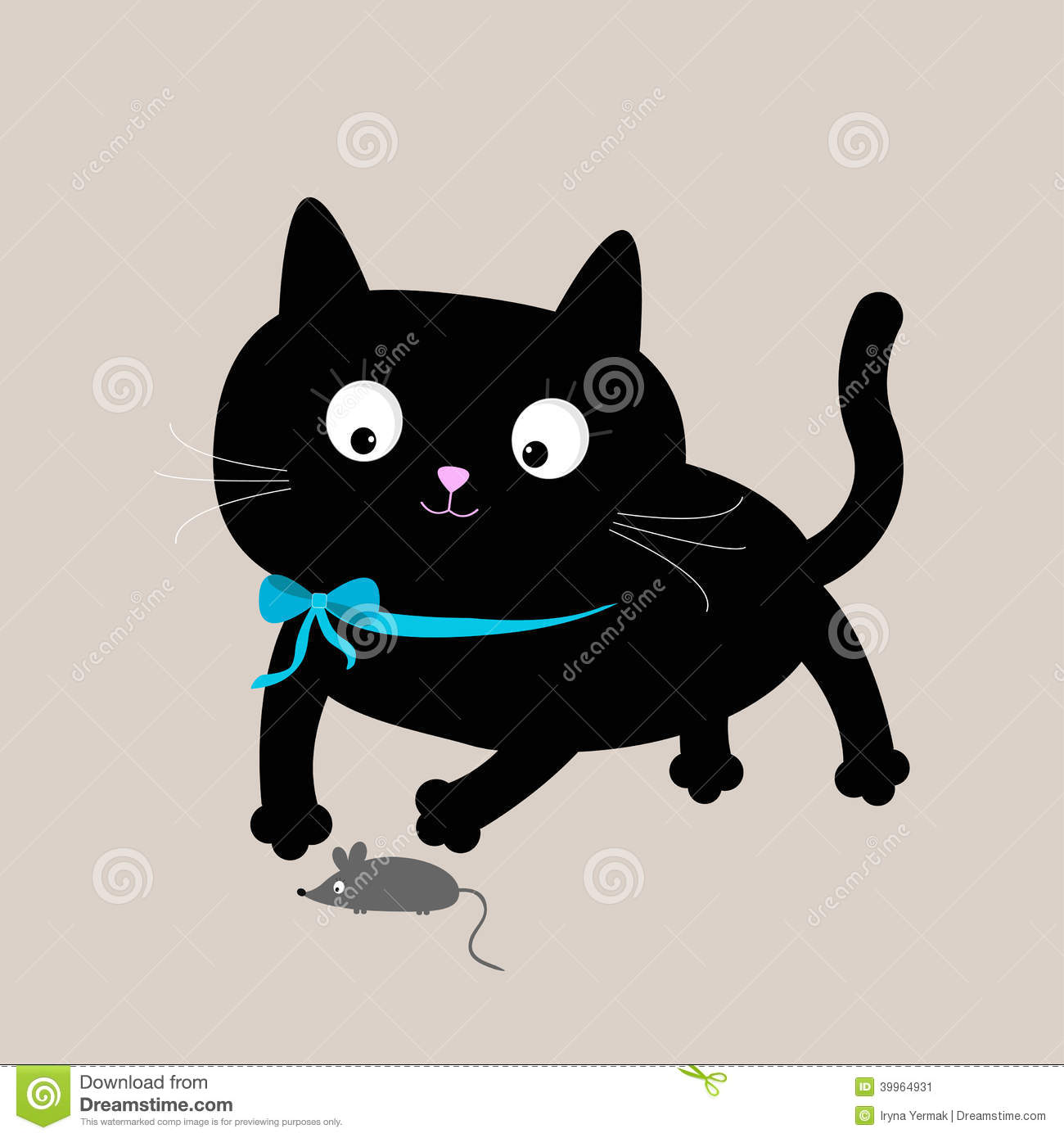 black cat with mouse funny animal stock vector   image 39964931