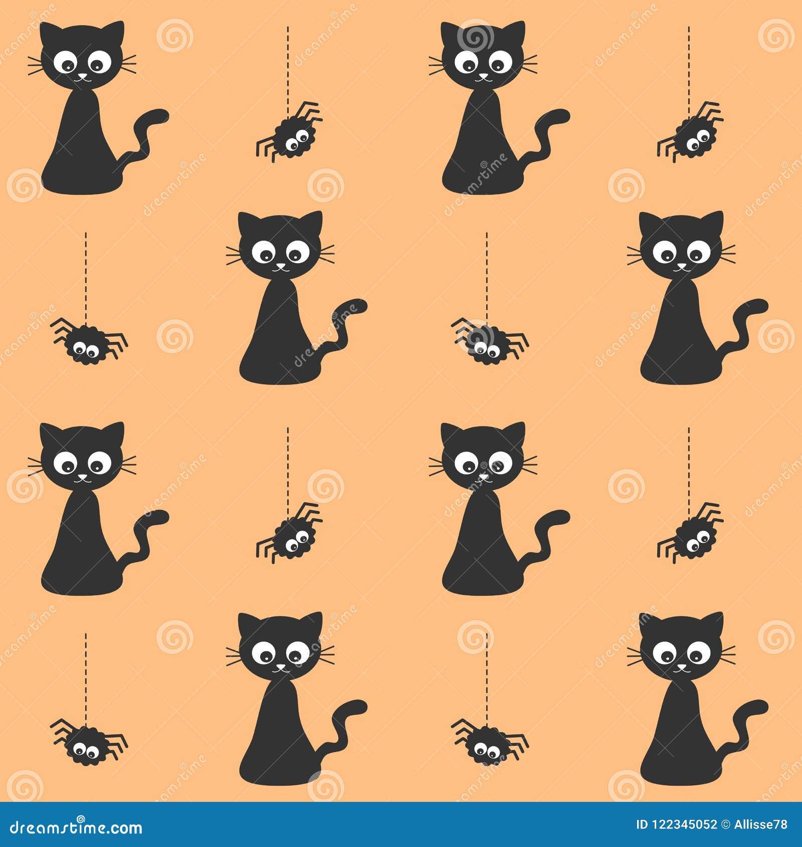 cute cartoon black cat spider halloween seamless vector pattern background illustration 122345052