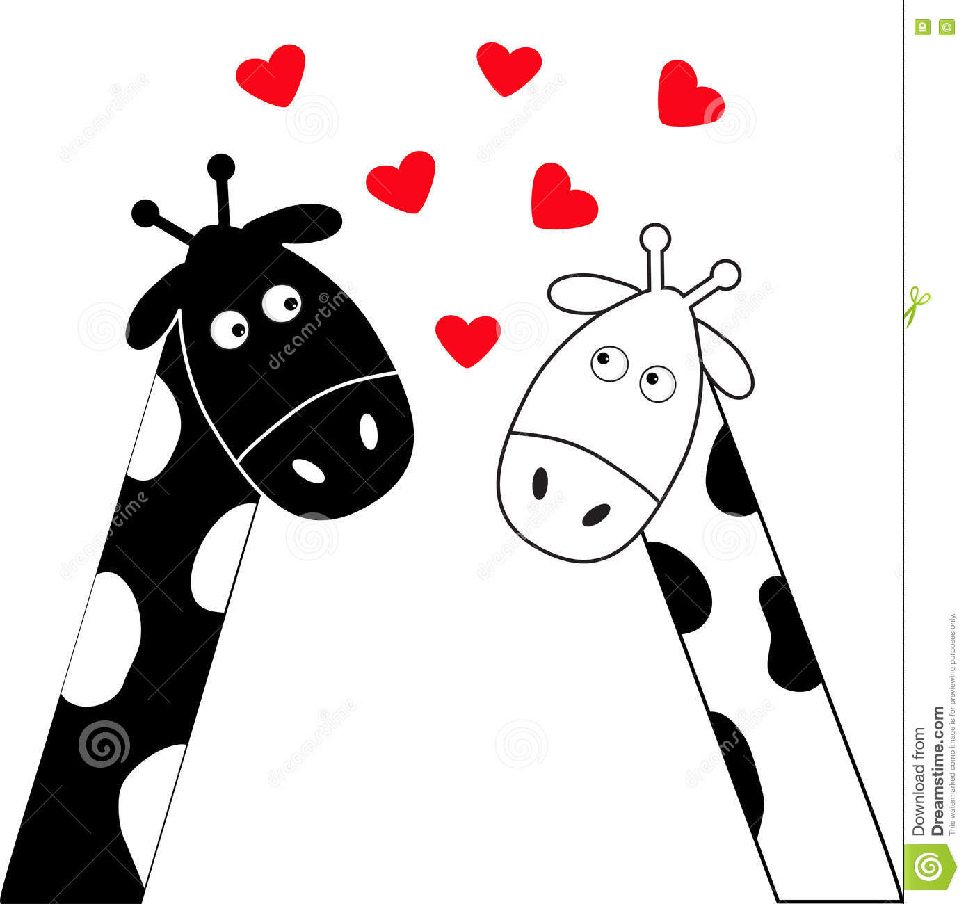 Cute Cartoon Black White Giraffe Boy And Girl Camelopard Couple On Date Long Neck -3163