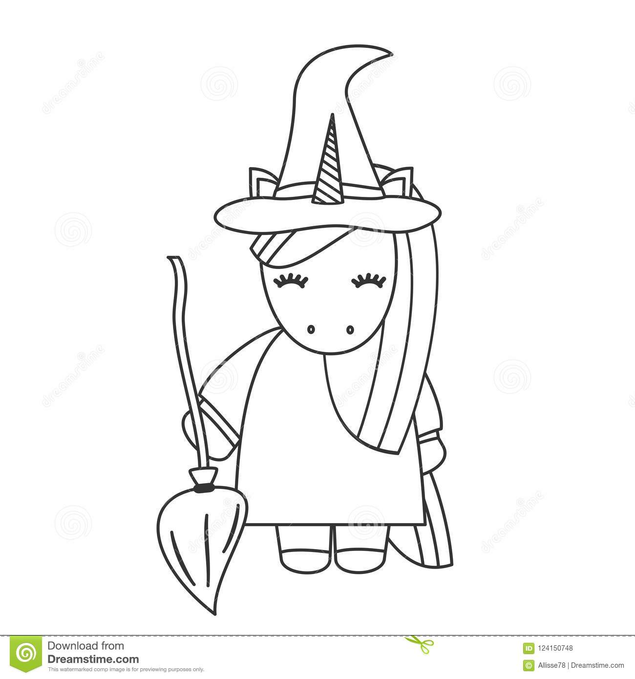 Cute cartoon black and white unicorn witch with broom halloween illustration isolated