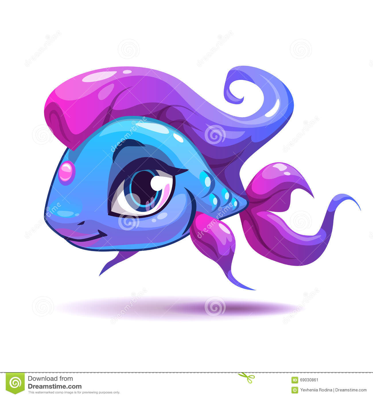 Cute fish cartoon vector illustration for Fish for girls