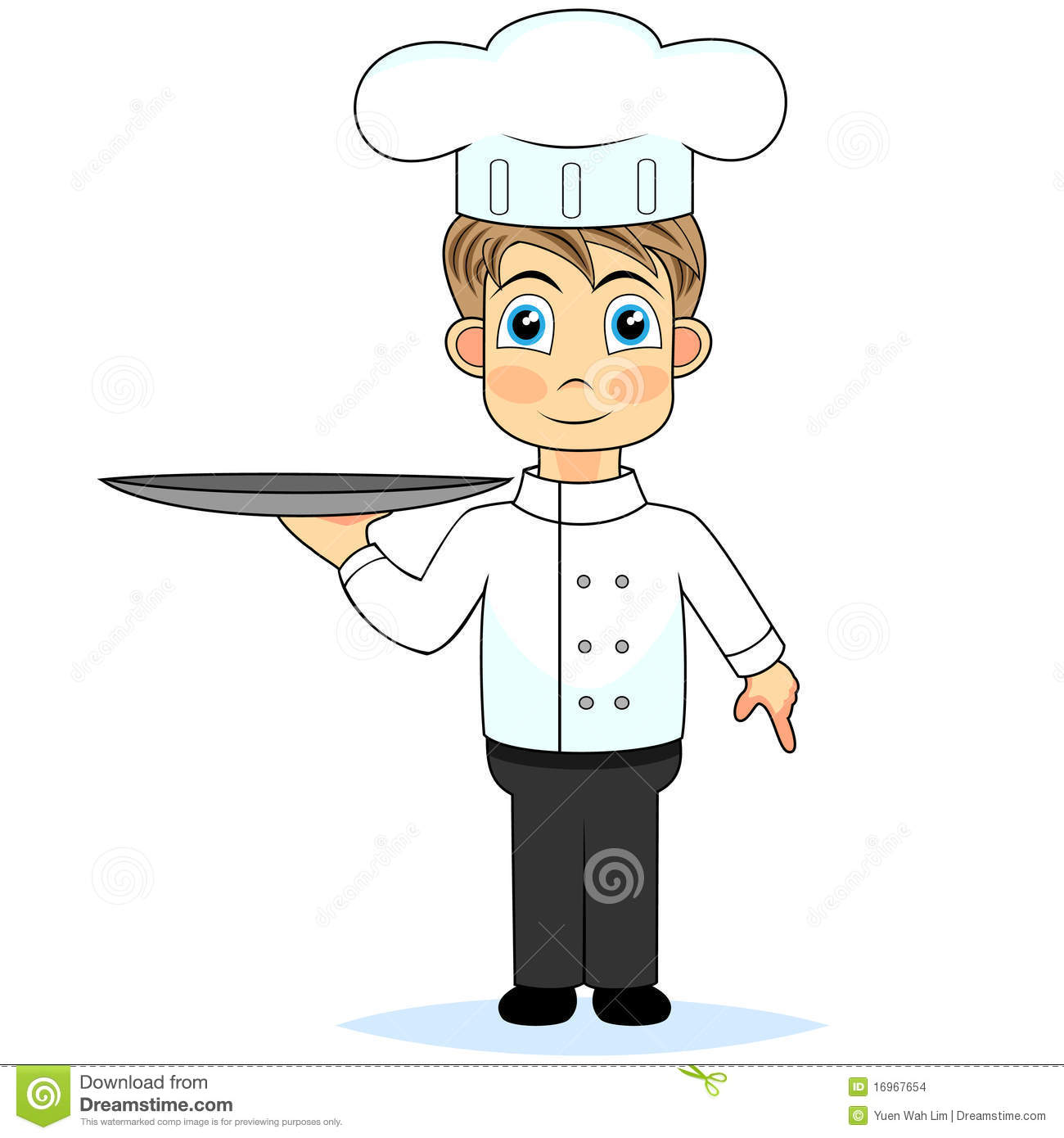 Stock Images Cute Cartoon Boy Chef Holding A Tray Image 16967654