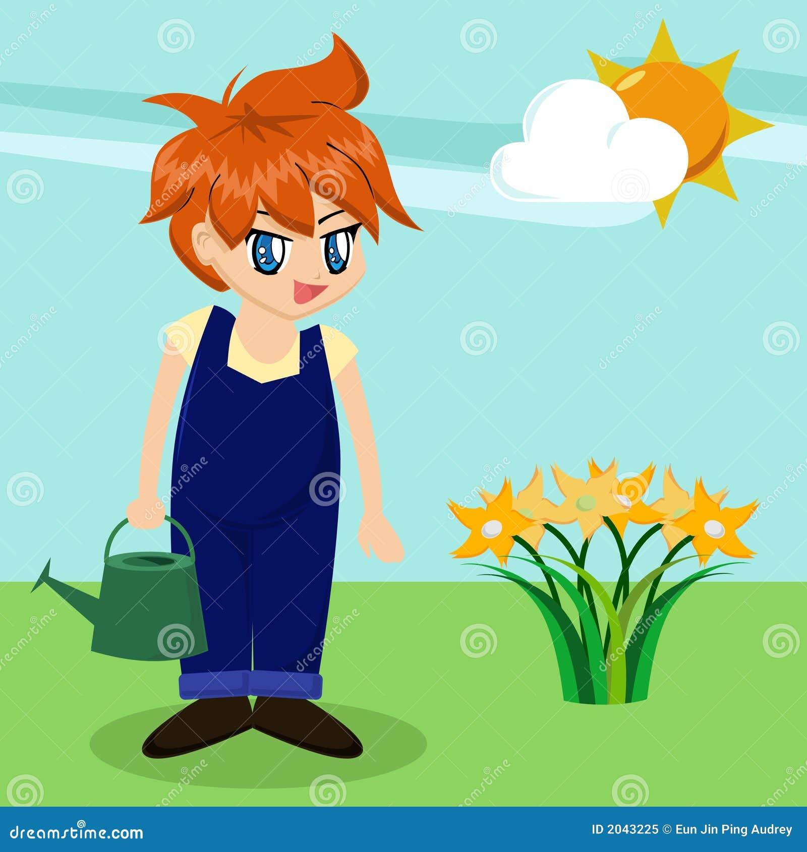 Garden Cute Cartoon: Cute Cartoon Boy In Garden Royalty Free Stock Photo