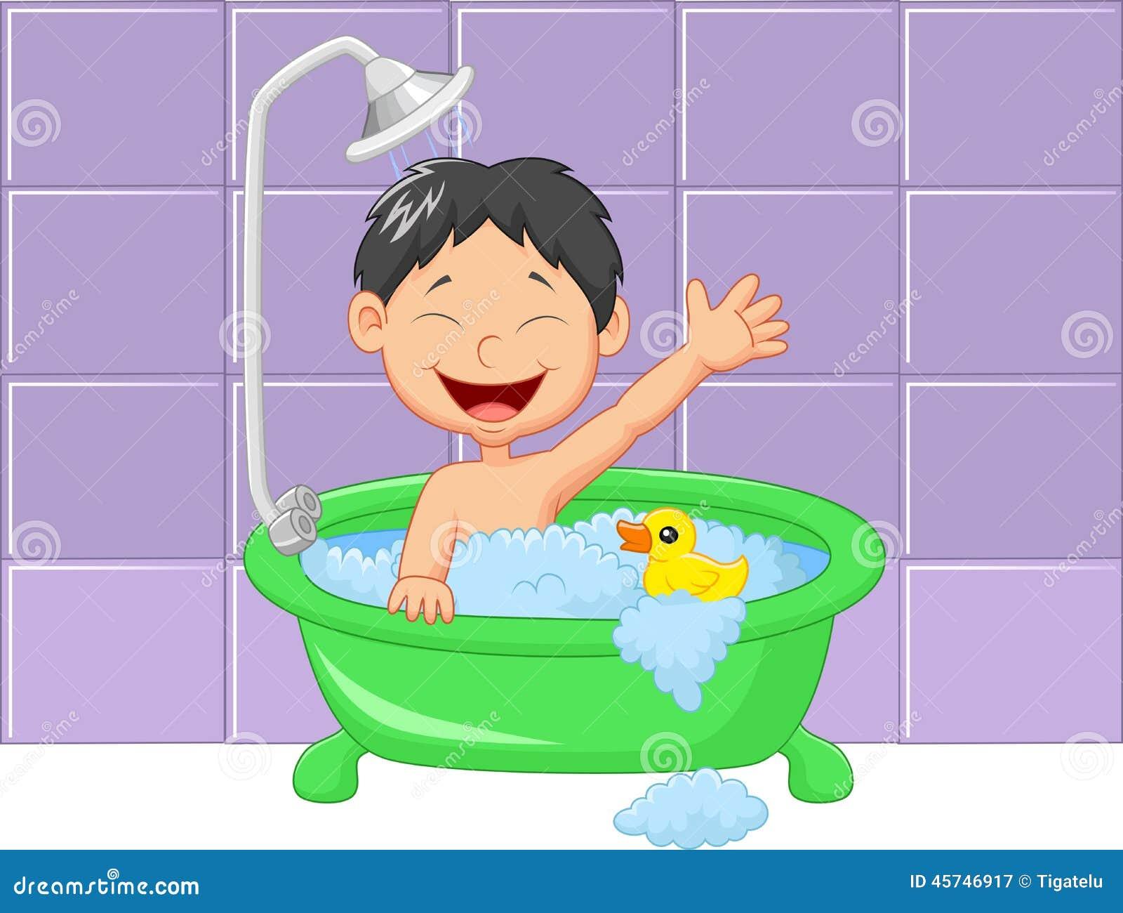 L Shower Bath Cute Cartoon Boy Having Bath Stock Vector Illustration