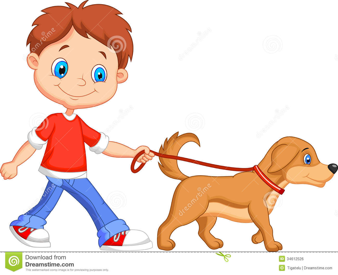 Kid walking dog clipart