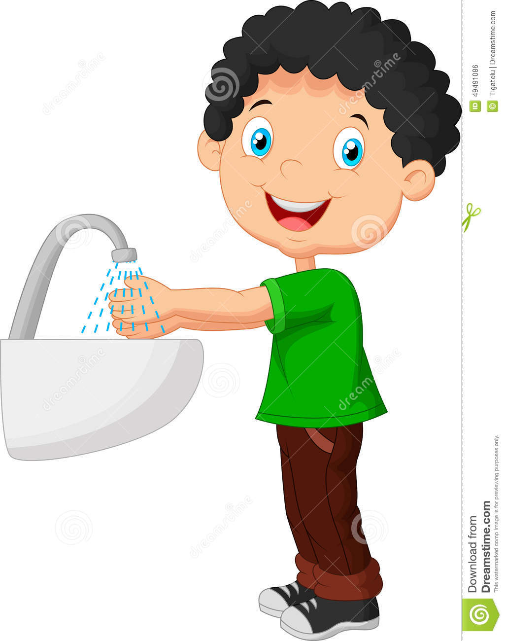 Cute Cartoon Boy Washing His Hands Stock Vector - Image: 49491086