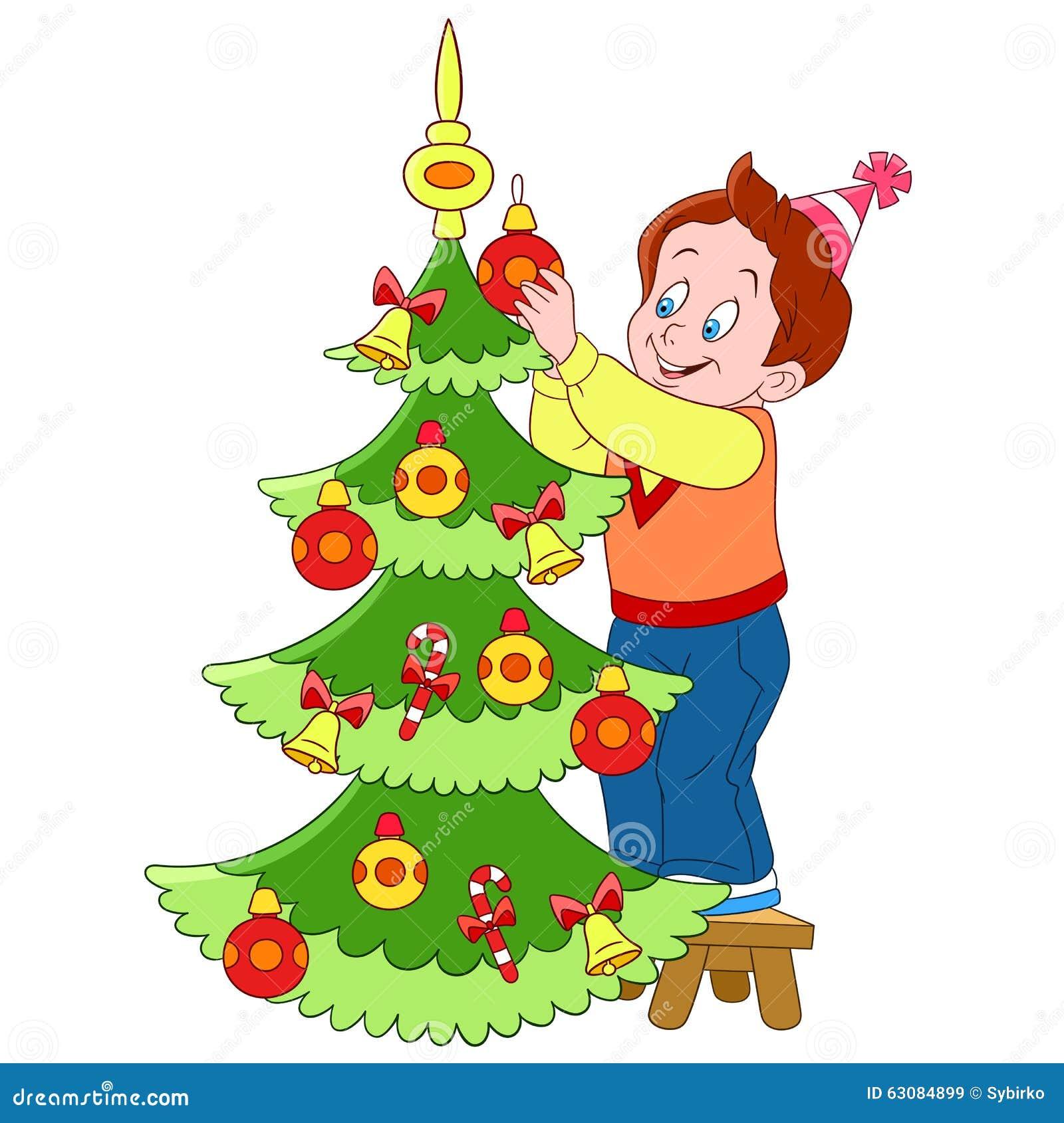 Cute Cartoon Boy And Xmas Tree Stock Vector - Illustration of ...