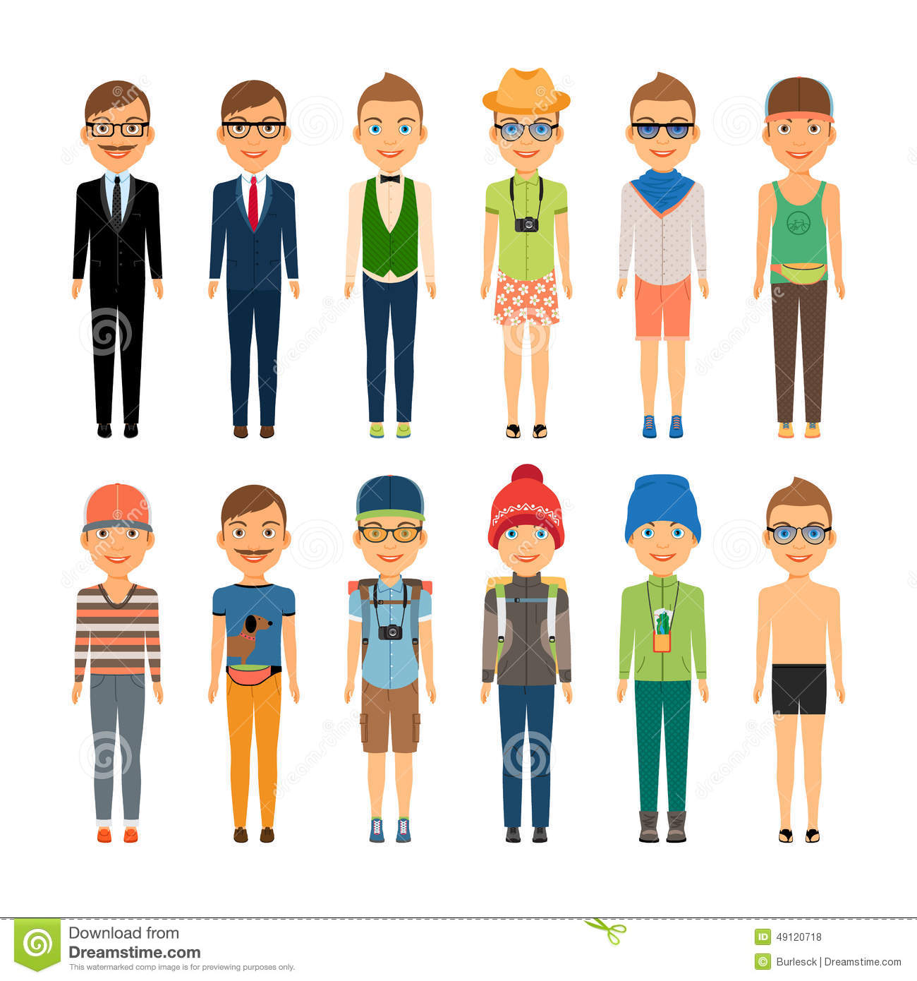 Various Cute Cartoon Boys in Assorted Clothing Styles - Business Beach ...