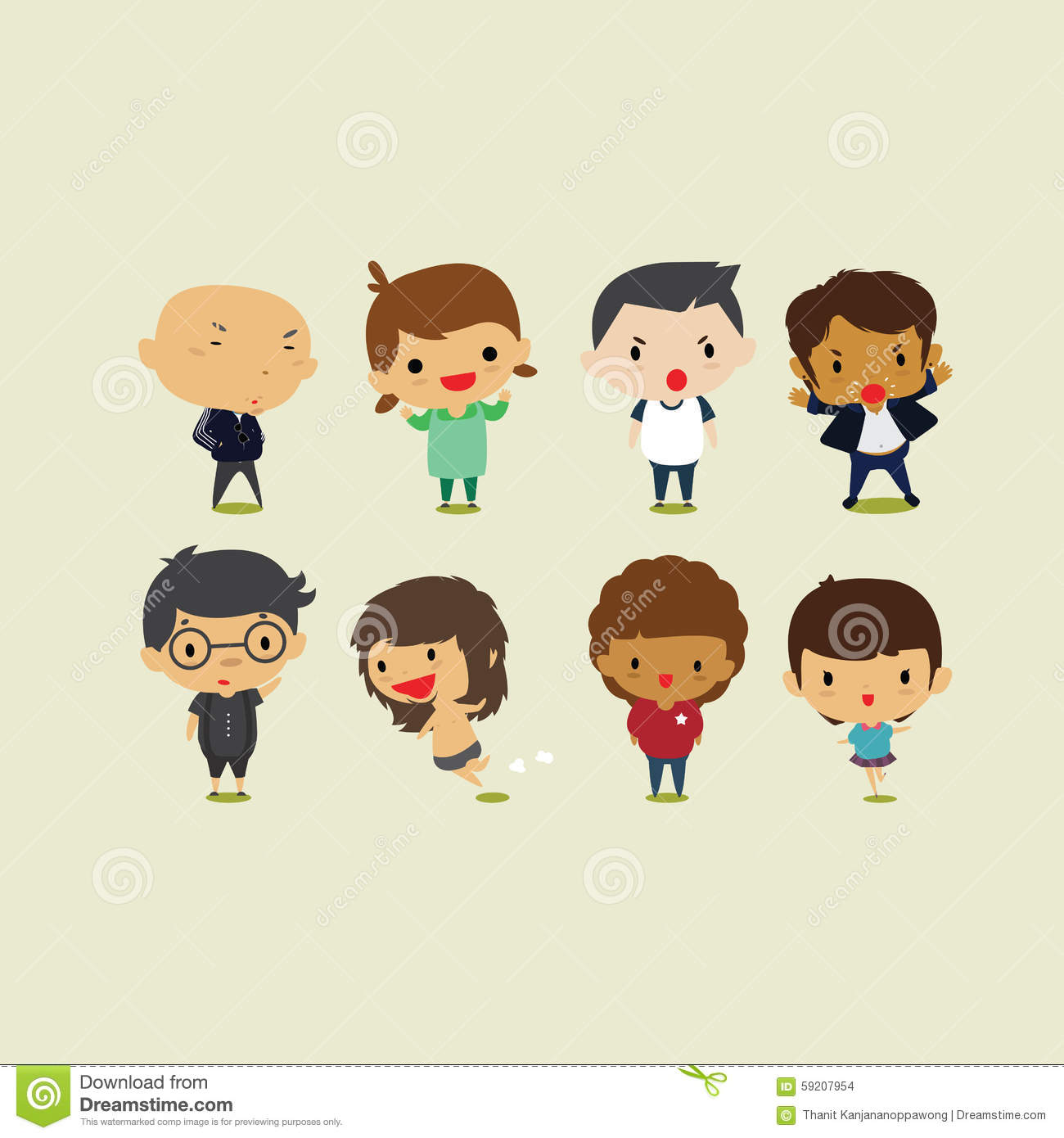 Cute Cartoon Boys And Girls Set2. Vector Clip Art Illustration ...