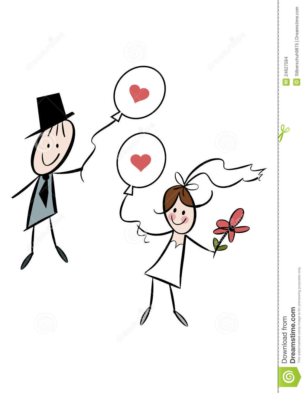 Cute Cartoon Bride And Groom With Balloons Stock Vector
