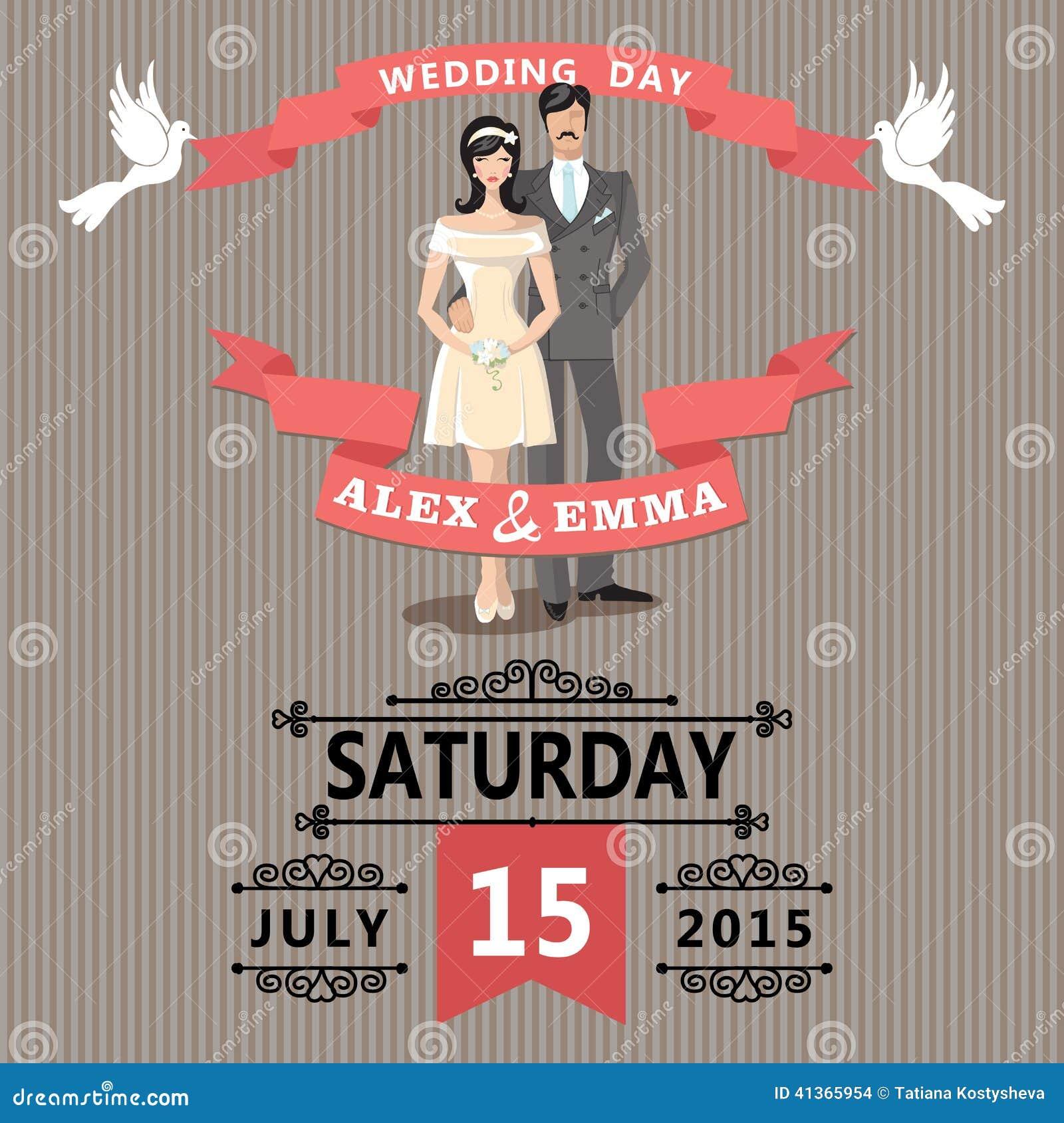 Cute Cartoon Bride And GroomRetro Wedding Invitation Stock Vector
