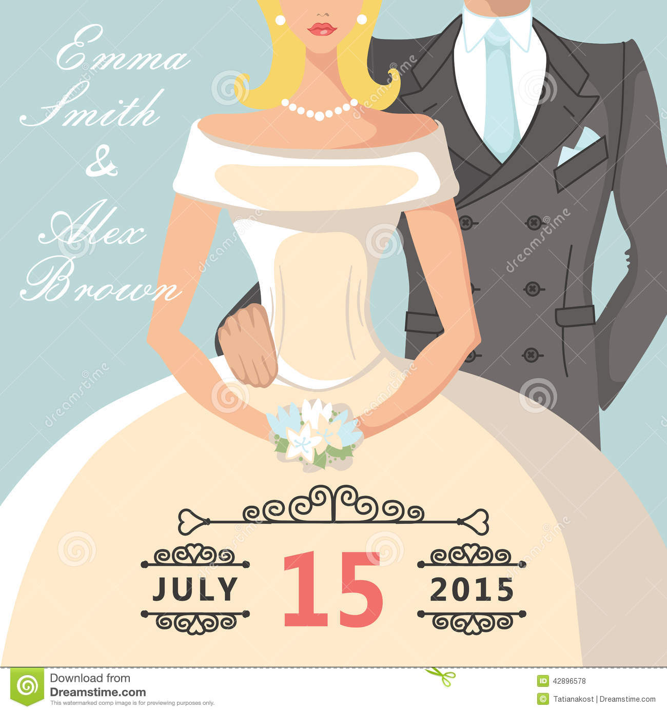 The wedding invitation with Cartoon bride and groom.Portrait couples ...