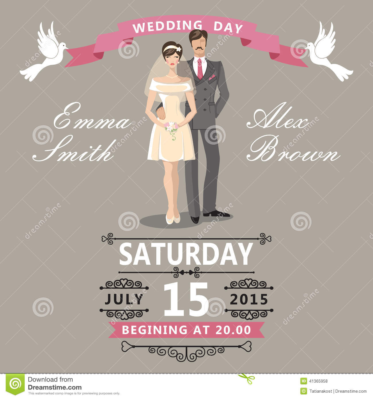 Cute Cartoon Bride And Groom Retro Wedding Invitation Stock Vector