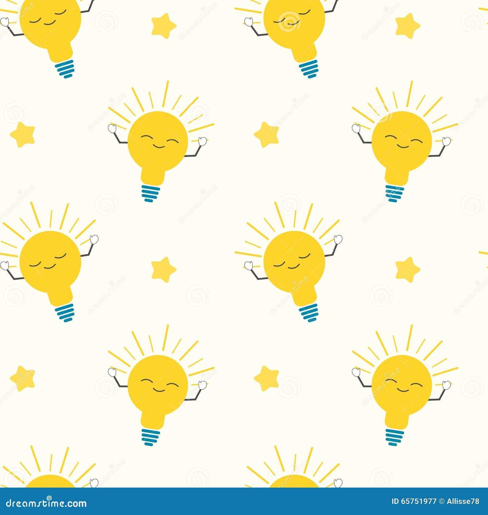 cute cartoon bright yellow light bulbs seamless pattern concept
