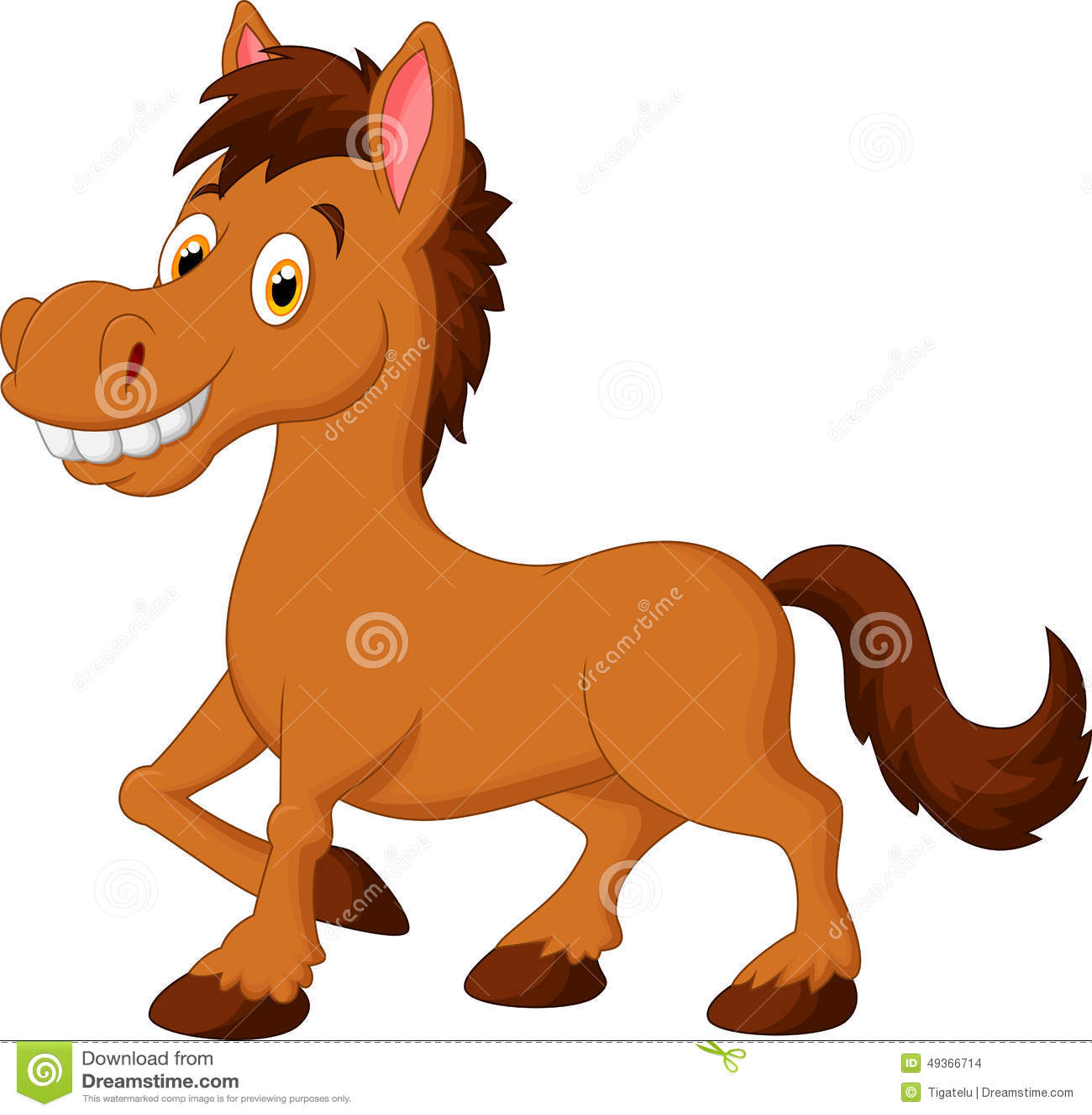 cute cartoon brown horse stock vector illustration of comic 49366714 rh dreamstime com cute baby horse clipart Cute Pig Clip Art