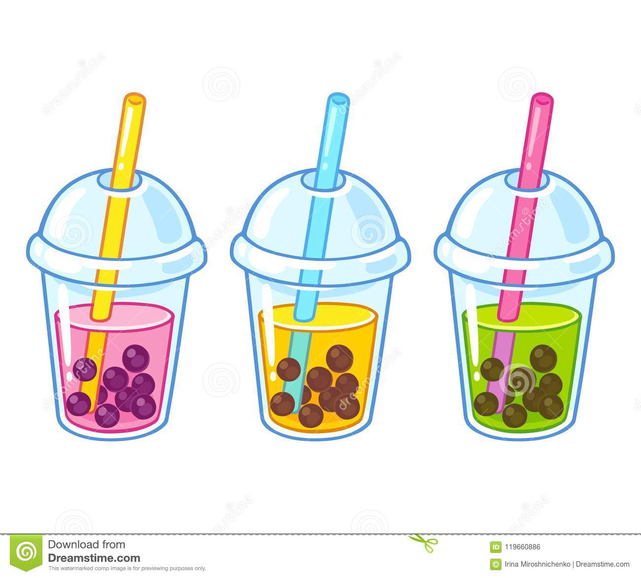 It is a graphic of Monster Boba Tea Drawing
