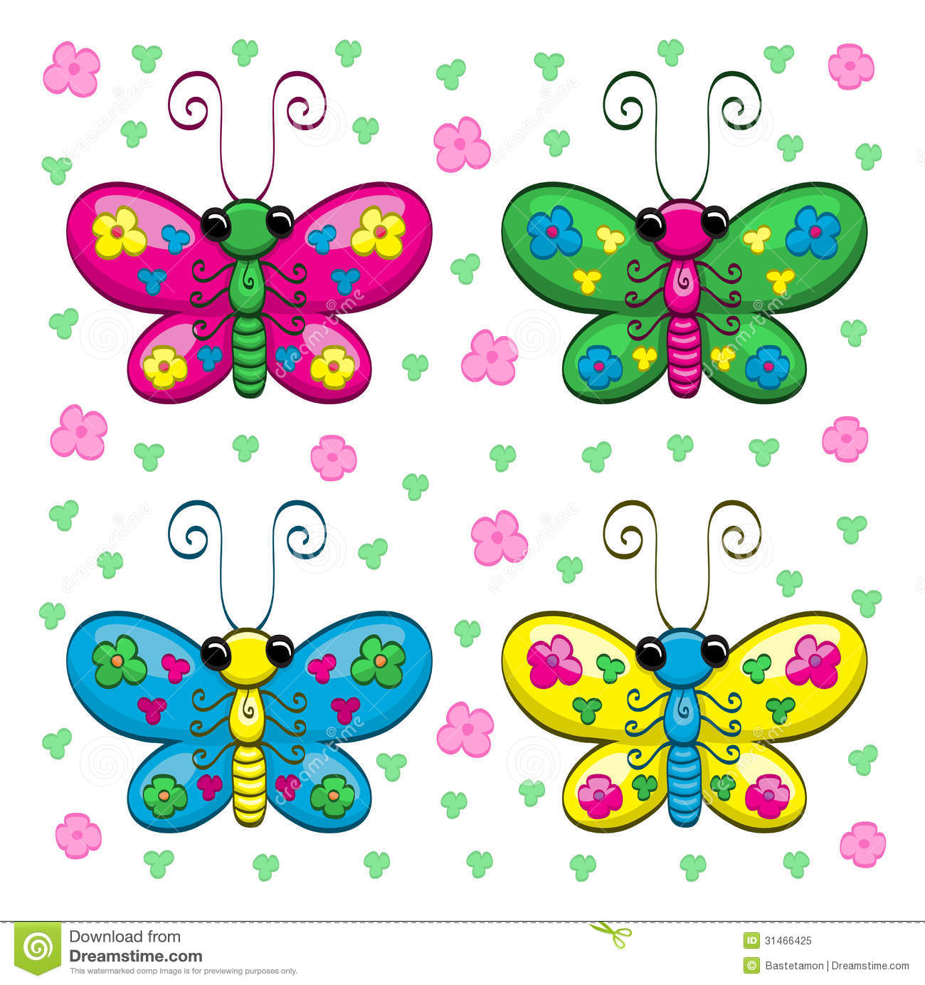 cute cartoon butterflies and flowers royalty free stock photo