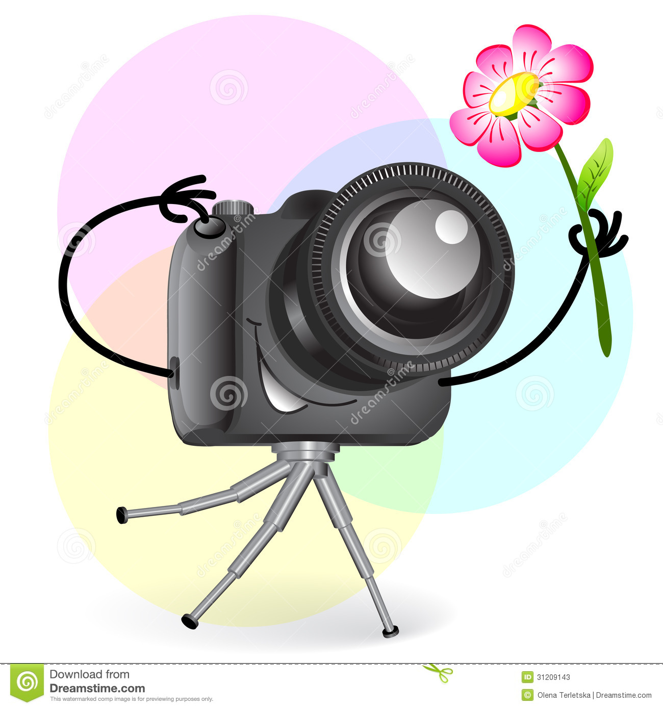 Cute Cartoon Camera With Flower Stock Photos - Image: 31209143