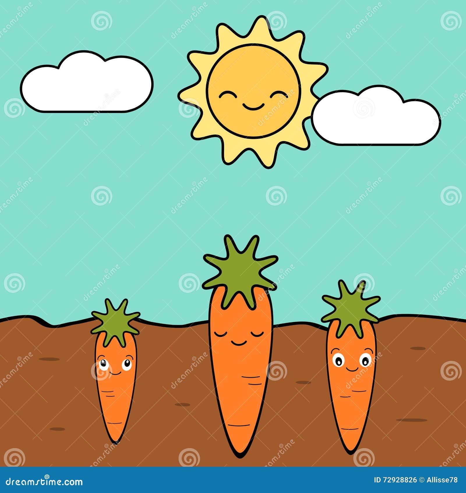 Garden Cute Cartoon: Cute Cartoon Carrots In The Garden Illustration Stock