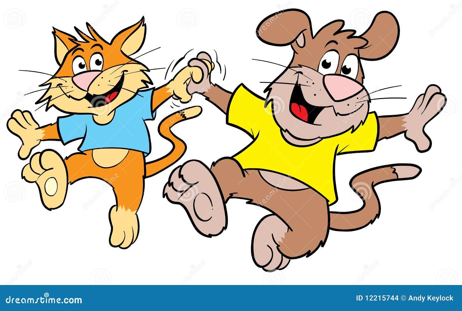 Cute Cartoon Cat And Dog Dancing Stock Illustration ...