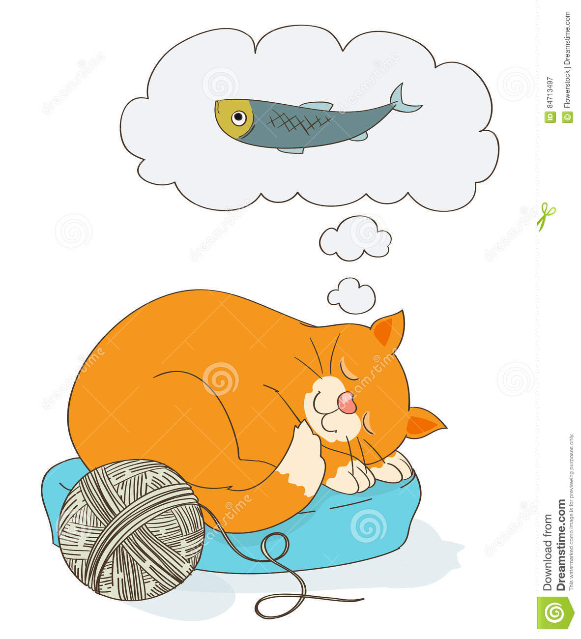 Cute cartoon cat dreaming of a fish as food stock vector for Dreaming of fish