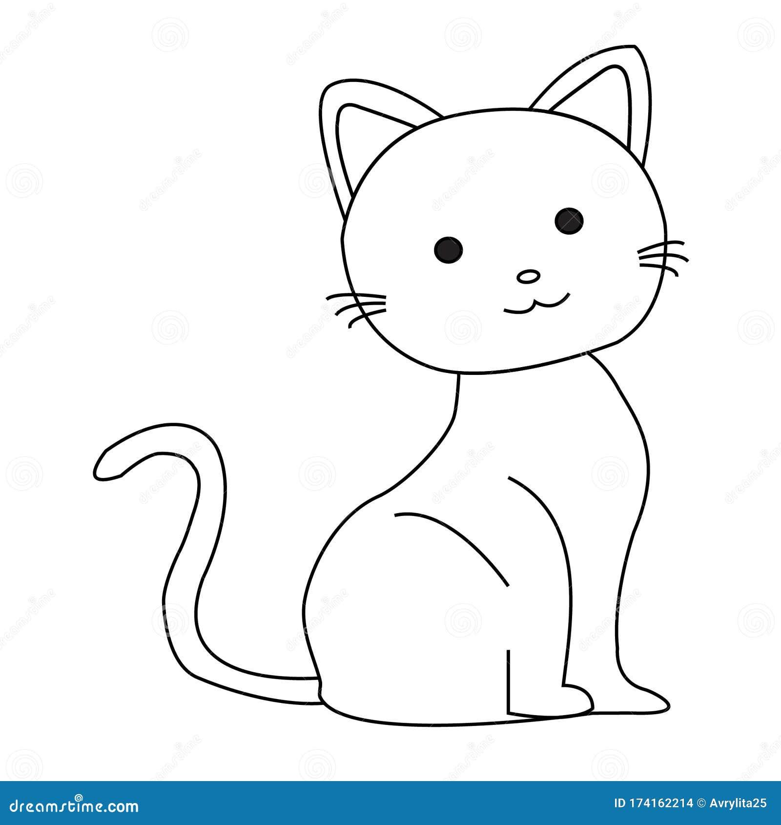 Cute Cartoon Cat Outline Vector Stock Vector Illustration Of Kitten Contour 174162214
