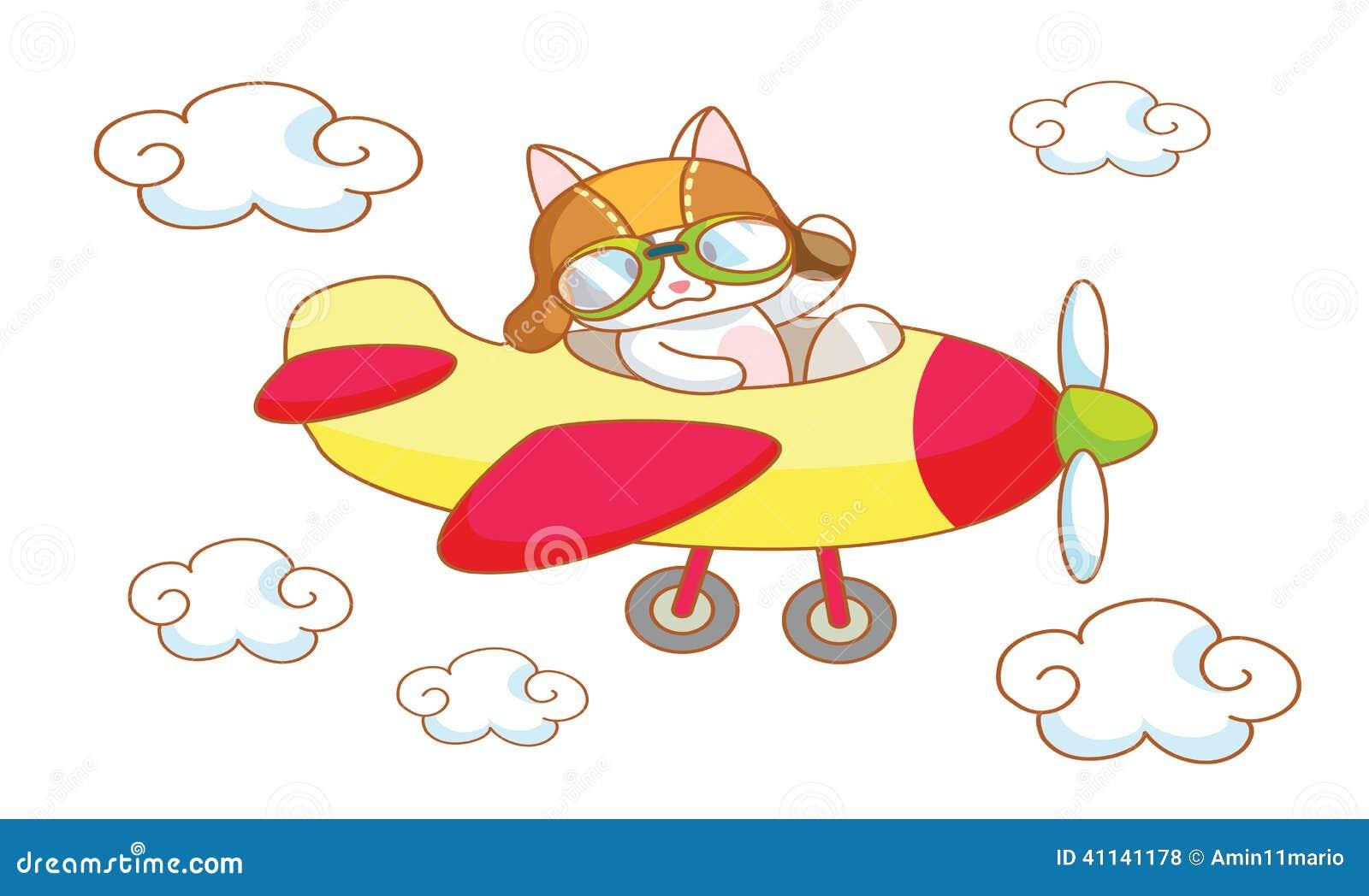 Cute Cartoon Cat On A Plane Stock Illustration Image