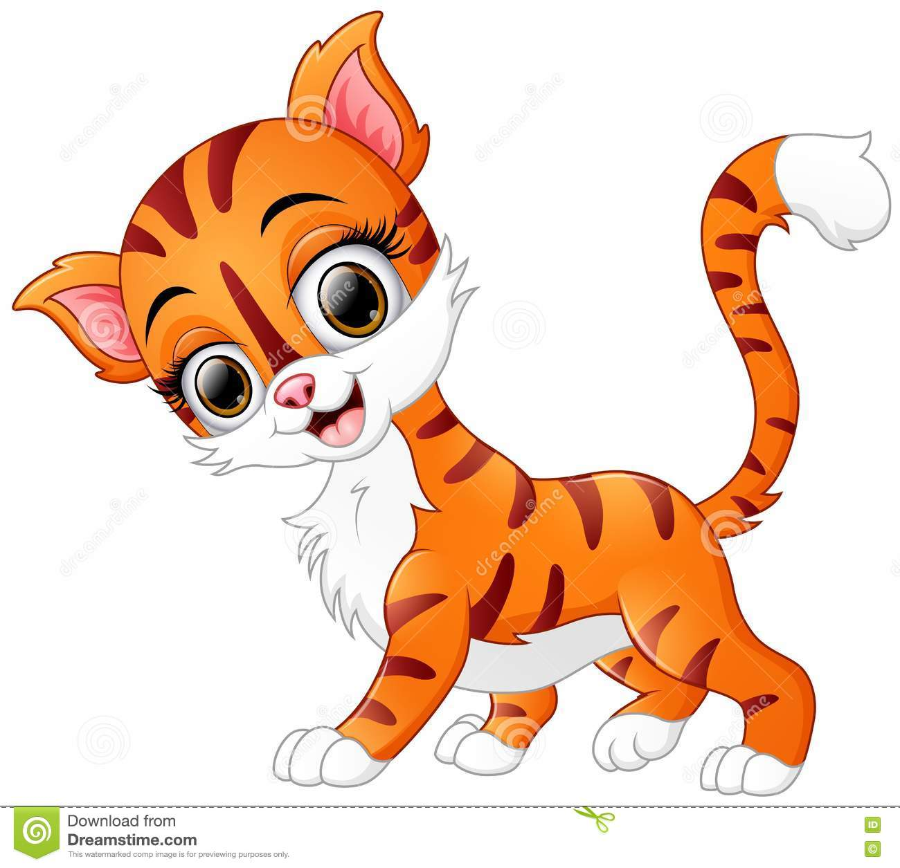 Cute Cartoon Cat Smiling Stock Vector Image