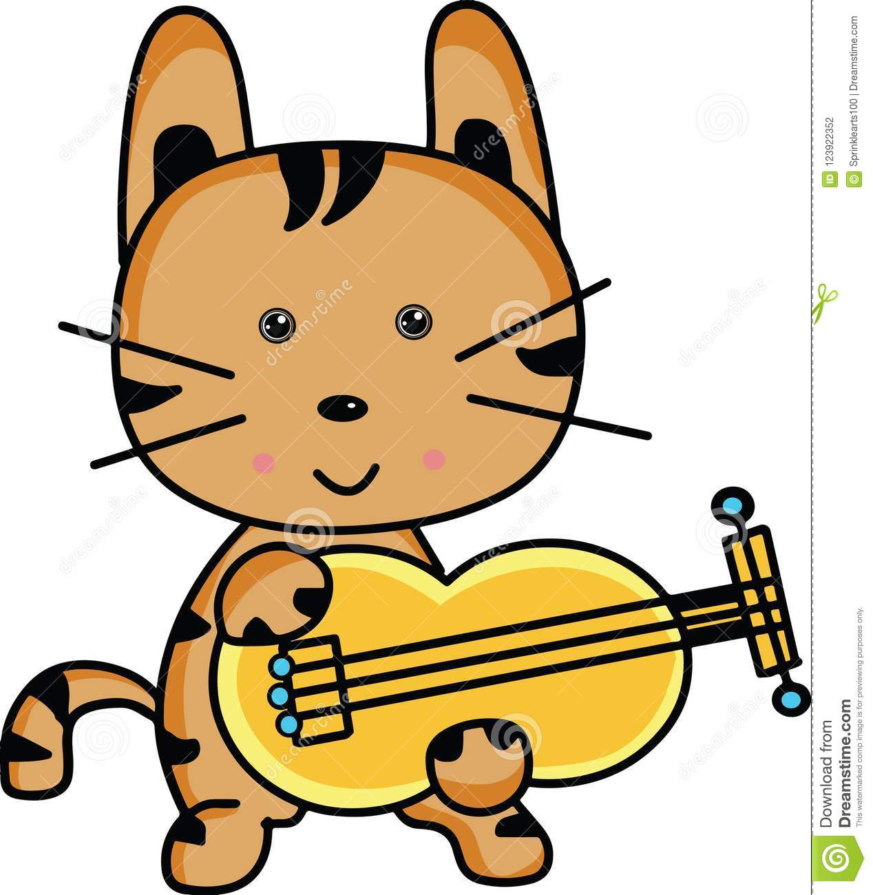 cute cartoon cat playing musical instrument stock illustration rh dreamstime com Vector Musical Background Guitar Vector