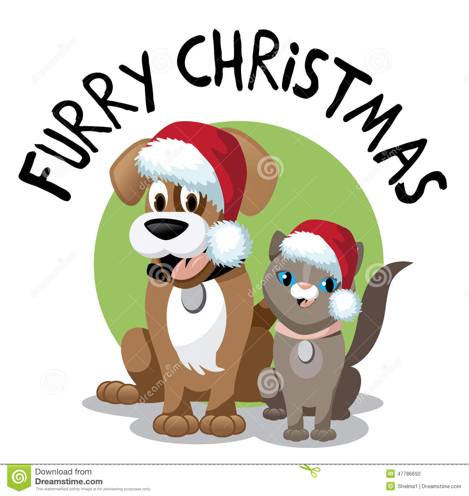 Cute Cartoon Cat Wearing Santa Hat Furry Christmas Stock