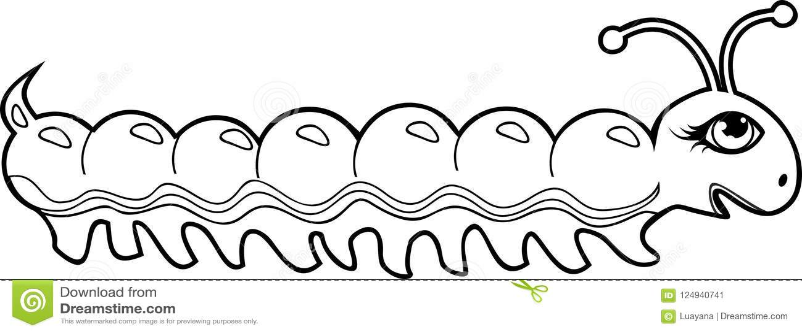 Cute Cartoon Caterpillar Coloring Page Stock Vector