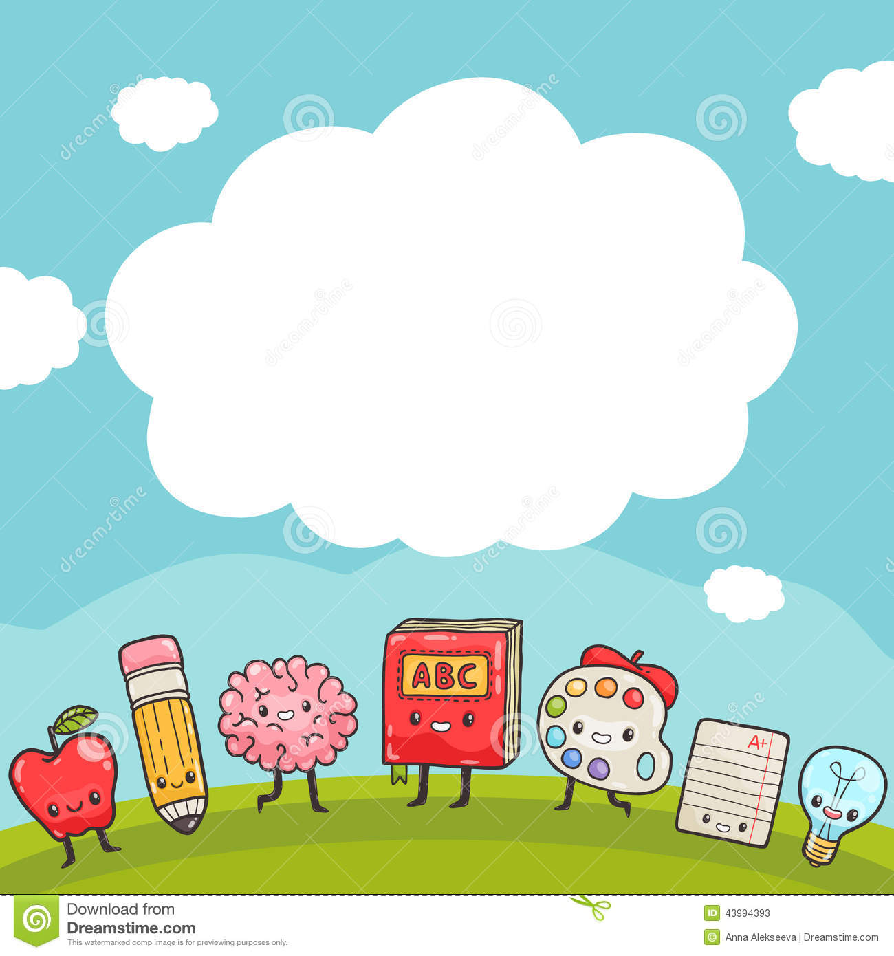 Cute Cartoon Characters Back To School Background Stock