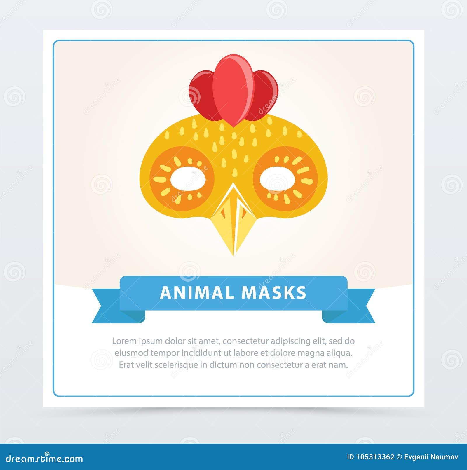 Publicado Cute Cartoon Chicken Mask  Colorful Element For